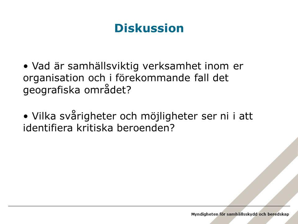 Diskussion Vad är samhällsviktig verksamhet inom er organisation och i förekommande fall det geografiska området