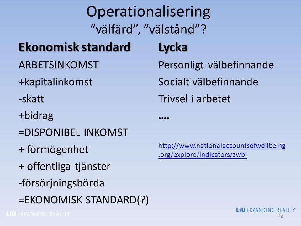 Operationalisering välfärd , välstånd