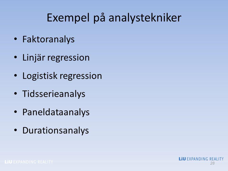 Exempel på analystekniker