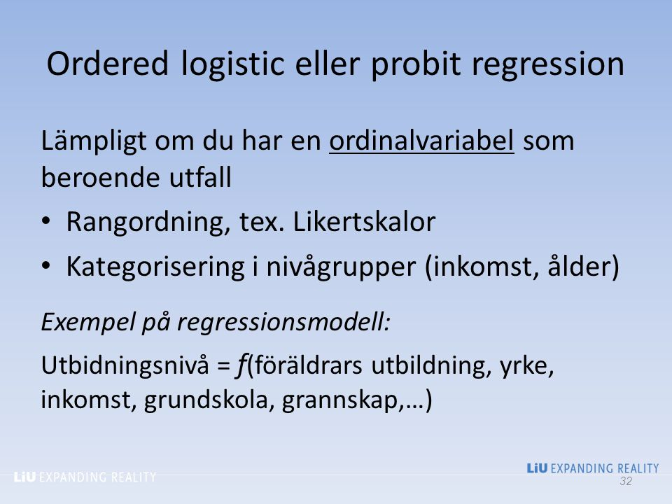 Ordered logistic eller probit regression