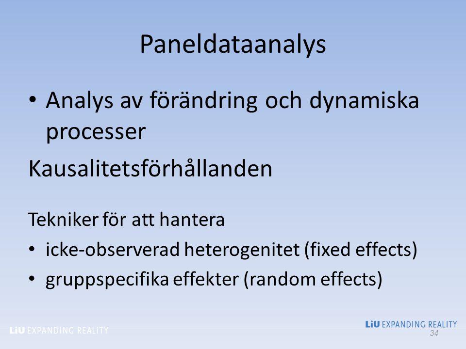 Paneldataanalys Analys av förändring och dynamiska processer