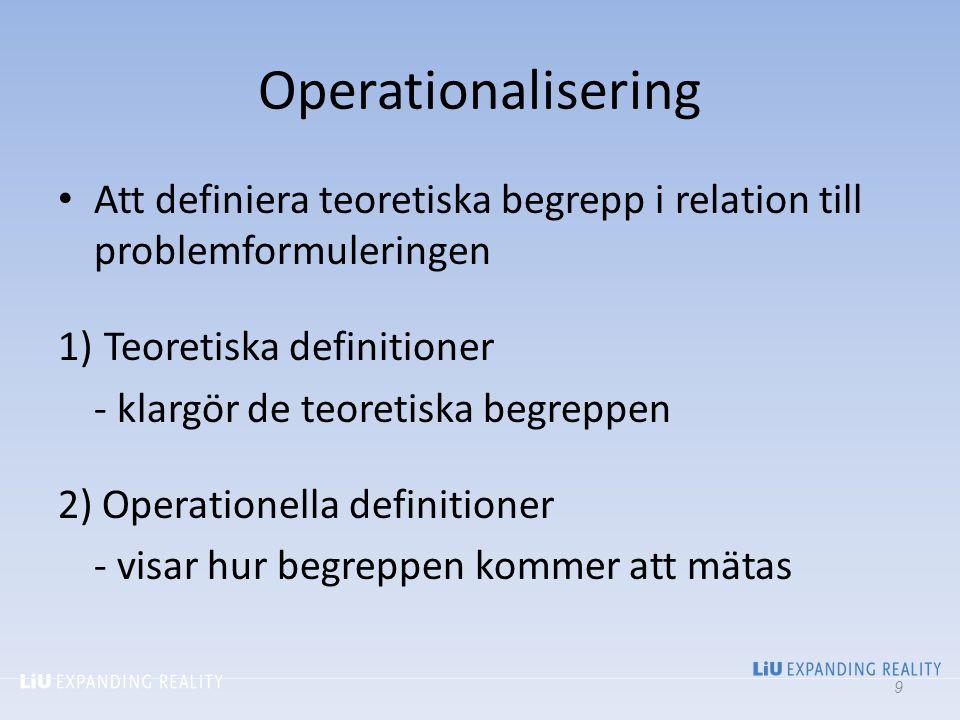2017-04-06 Operationalisering. Att definiera teoretiska begrepp i relation till problemformuleringen.