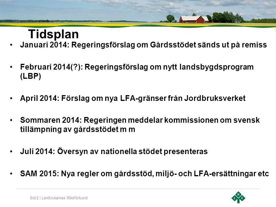 Tidsplan Januari 2014: Regeringsförslag om Gårdsstödet sänds ut på remiss. Februari 2014( ): Regeringsförslag om nytt landsbygdsprogram (LBP)