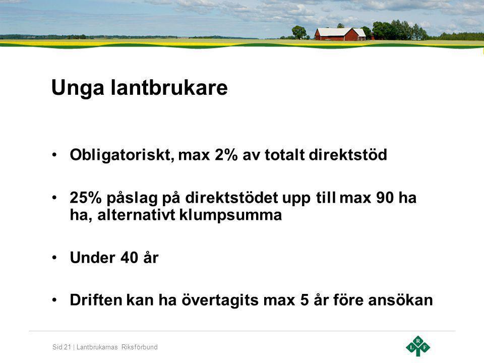 Unga lantbrukare Obligatoriskt, max 2% av totalt direktstöd