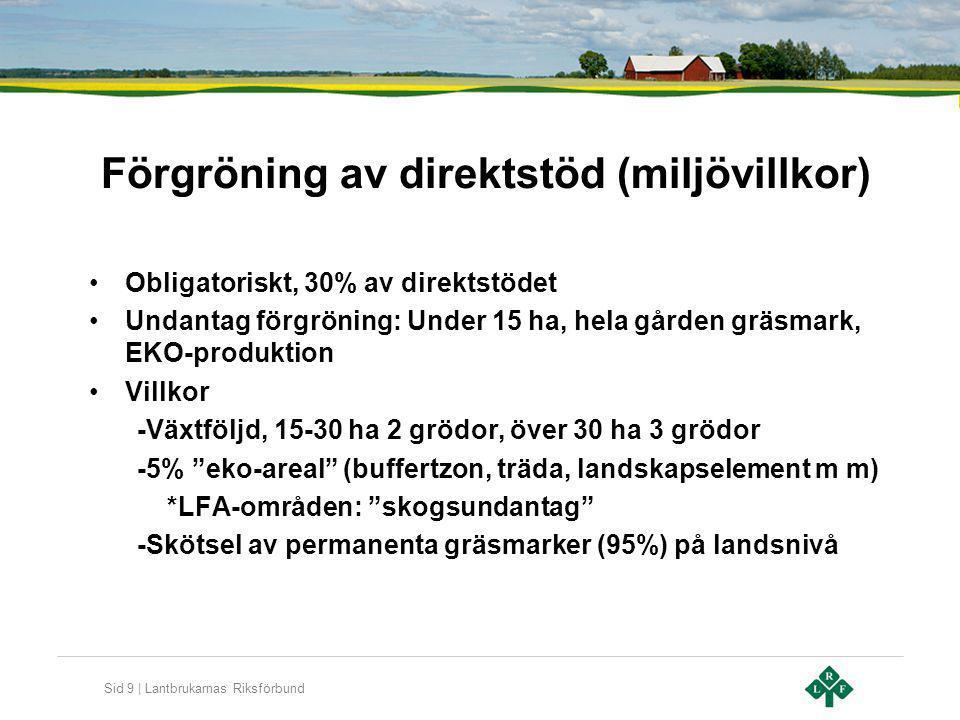 Förgröning av direktstöd (miljövillkor)