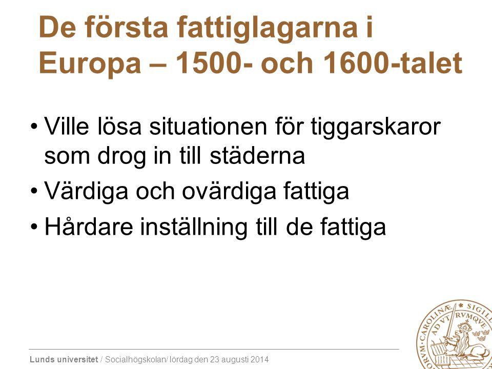 De första fattiglagarna i Europa – 1500- och 1600-talet