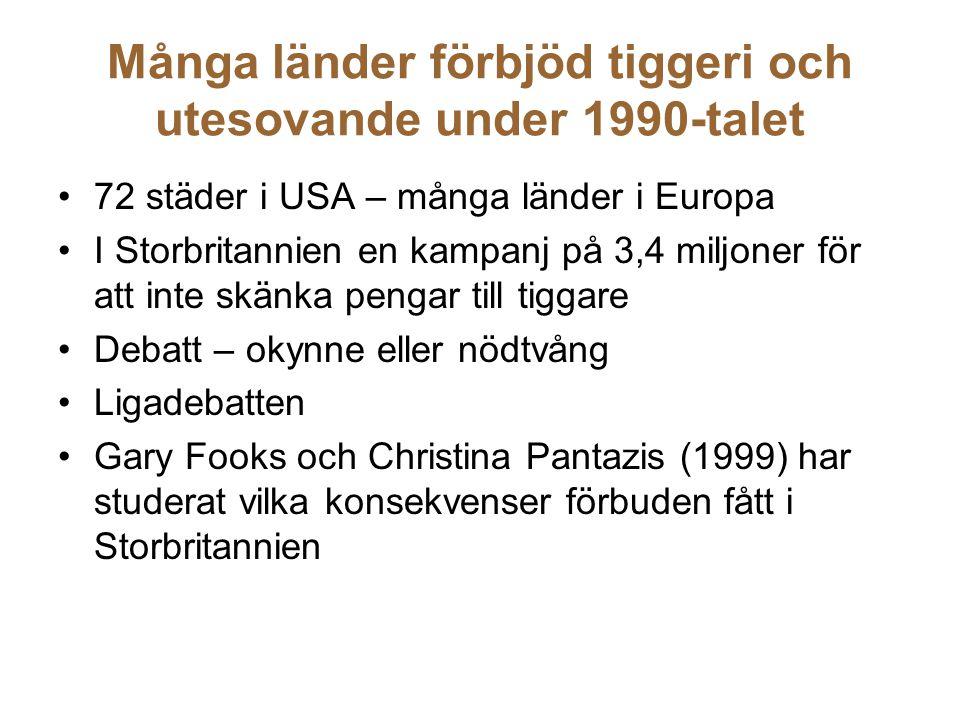 Många länder förbjöd tiggeri och utesovande under 1990-talet