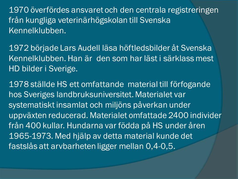 1970 överfördes ansvaret och den centrala registreringen från kungliga veterinärhögskolan till Svenska Kennelklubben.