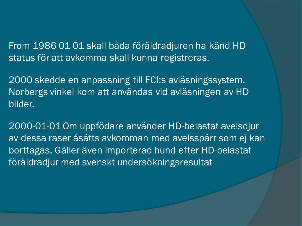 From 1986 01 01 skall båda föräldradjuren ha känd HD status för att avkomma skall kunna registreras.