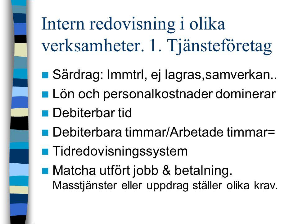 Intern redovisning i olika verksamheter. 1. Tjänsteföretag
