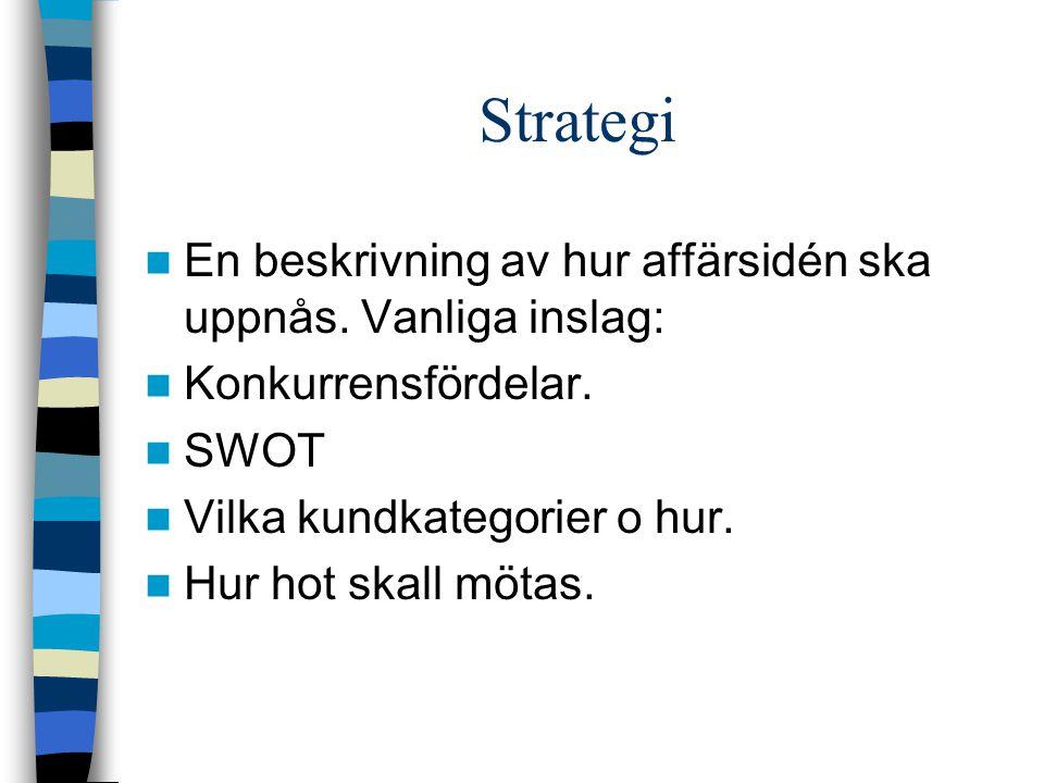 Strategi En beskrivning av hur affärsidén ska uppnås. Vanliga inslag: