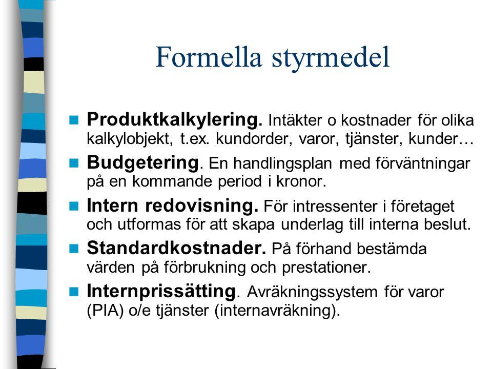 Formella styrmedel Produktkalkylering. Intäkter o kostnader för olika kalkylobjekt, t.ex. kundorder, varor, tjänster, kunder…