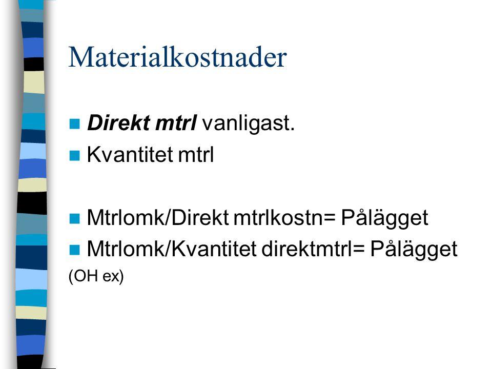 Materialkostnader Direkt mtrl vanligast. Kvantitet mtrl