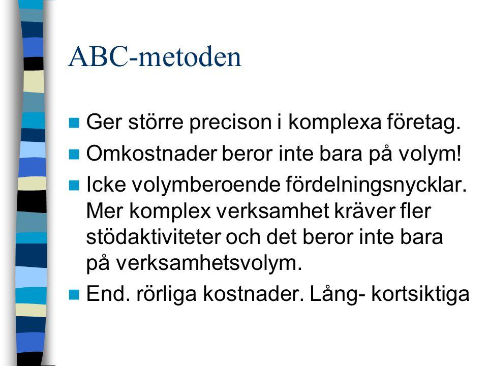 ABC-metoden Ger större precison i komplexa företag.