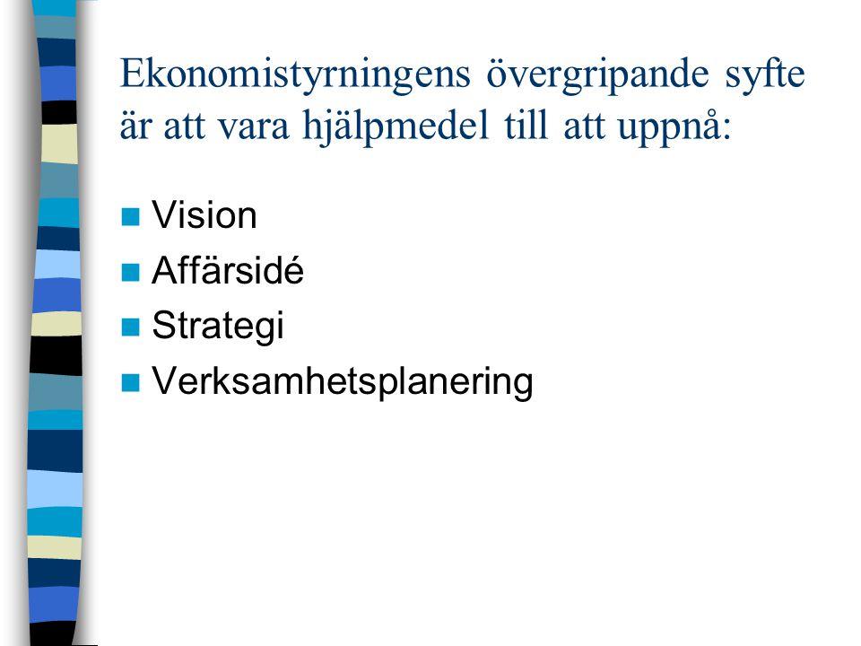 Ekonomistyrningens övergripande syfte är att vara hjälpmedel till att uppnå:
