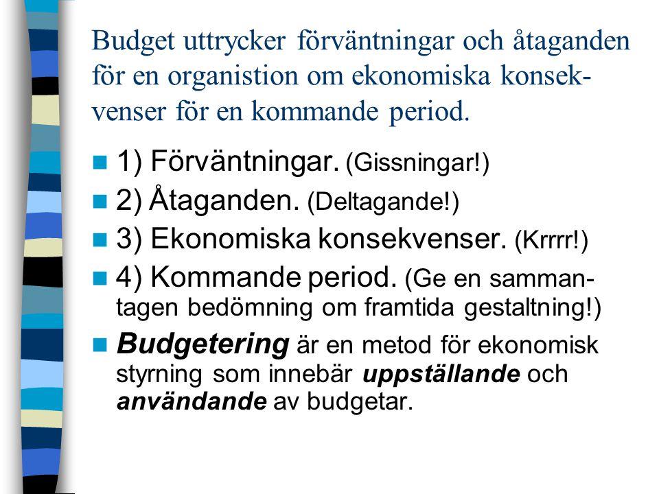 Budget uttrycker förväntningar och åtaganden för en organistion om ekonomiska konsek-venser för en kommande period.