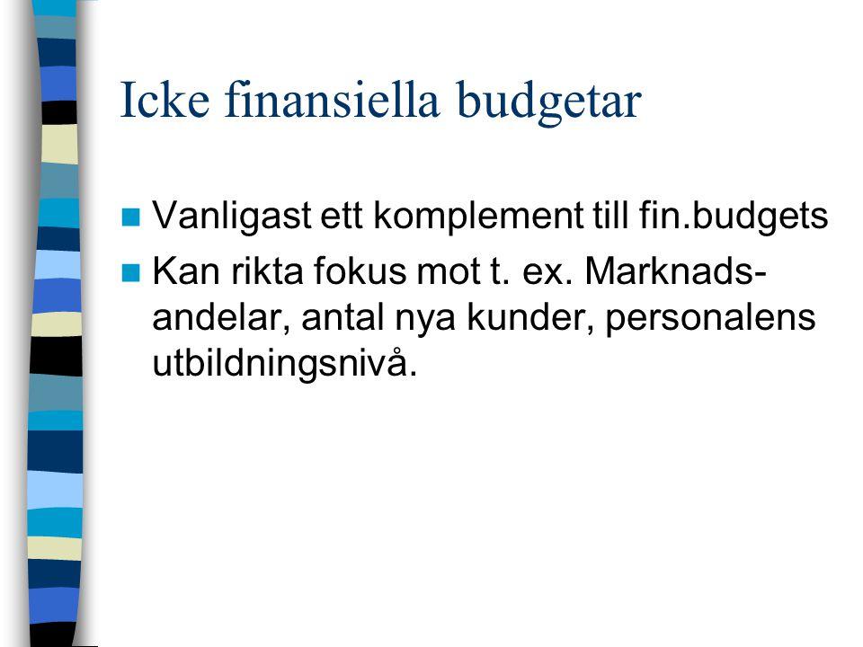 Icke finansiella budgetar