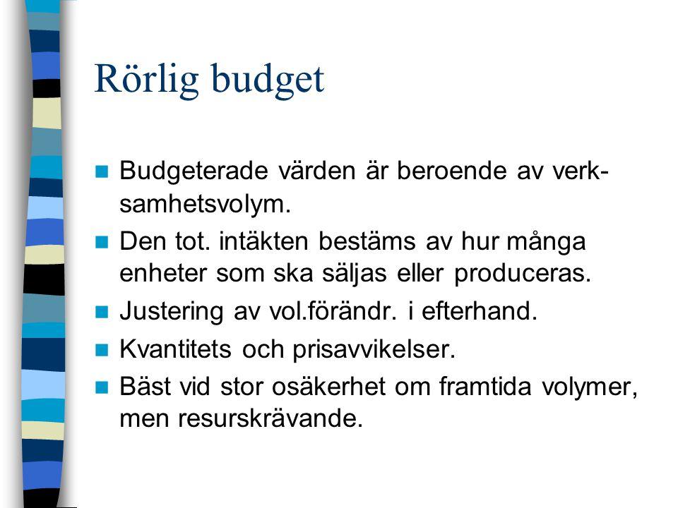 Rörlig budget Budgeterade värden är beroende av verk-samhetsvolym.