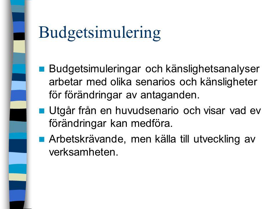 Budgetsimulering Budgetsimuleringar och känslighetsanalyser arbetar med olika senarios och känsligheter för förändringar av antaganden.