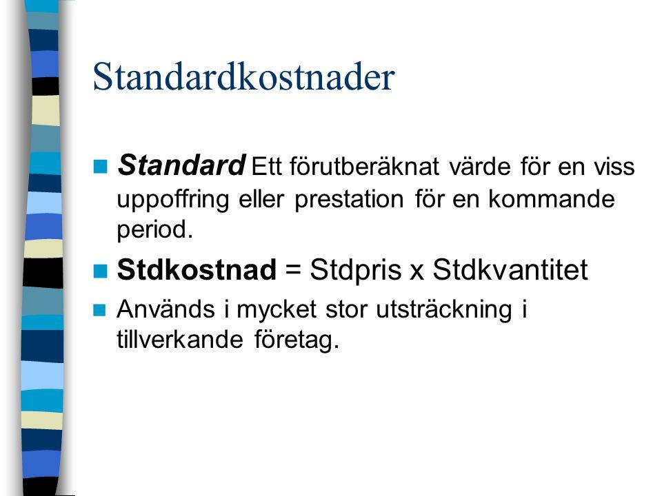Standardkostnader Standard Ett förutberäknat värde för en viss uppoffring eller prestation för en kommande period.