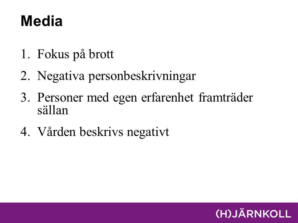 Media Fokus på brott Negativa personbeskrivningar