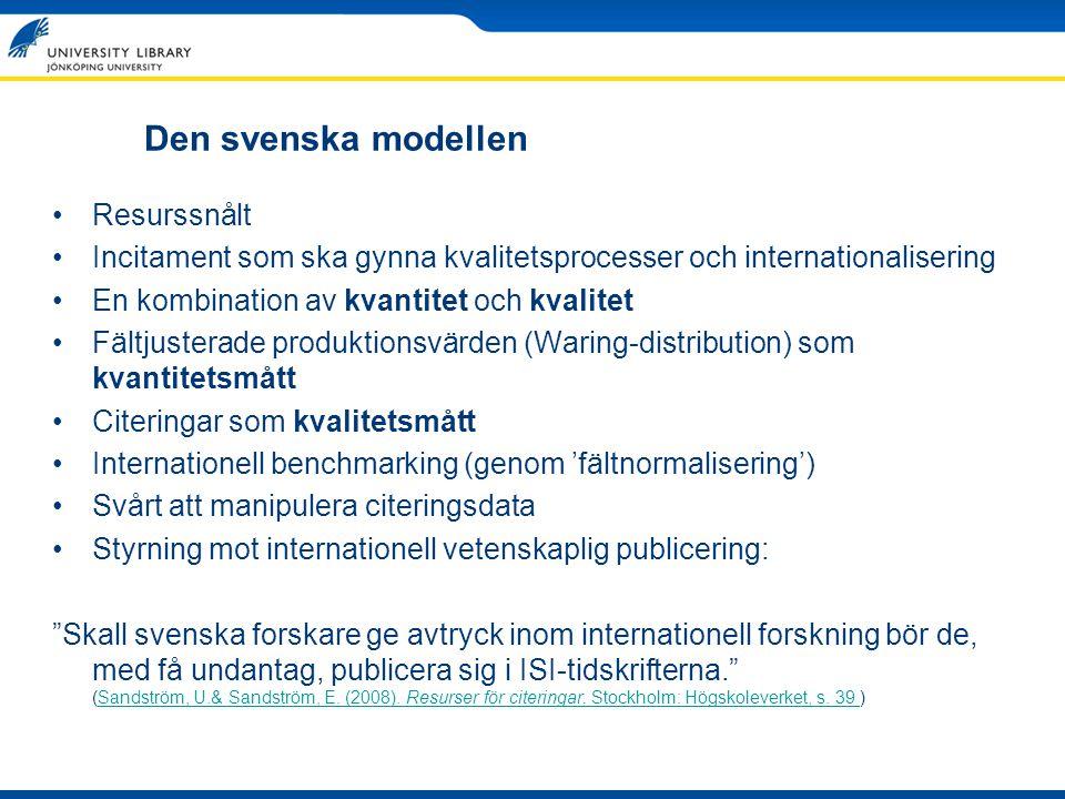 Den svenska modellen Resurssnålt