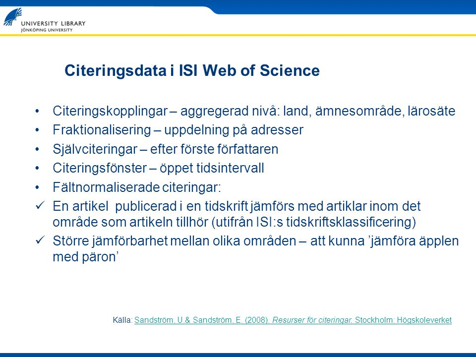 Citeringsdata i ISI Web of Science