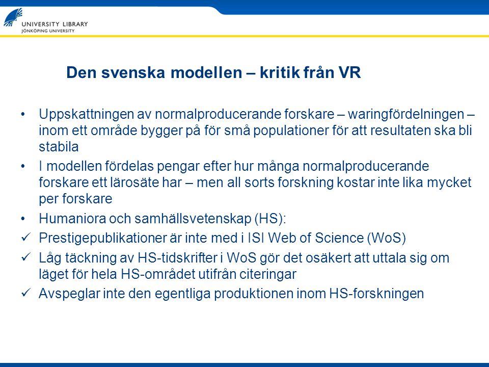 Den svenska modellen – kritik från VR