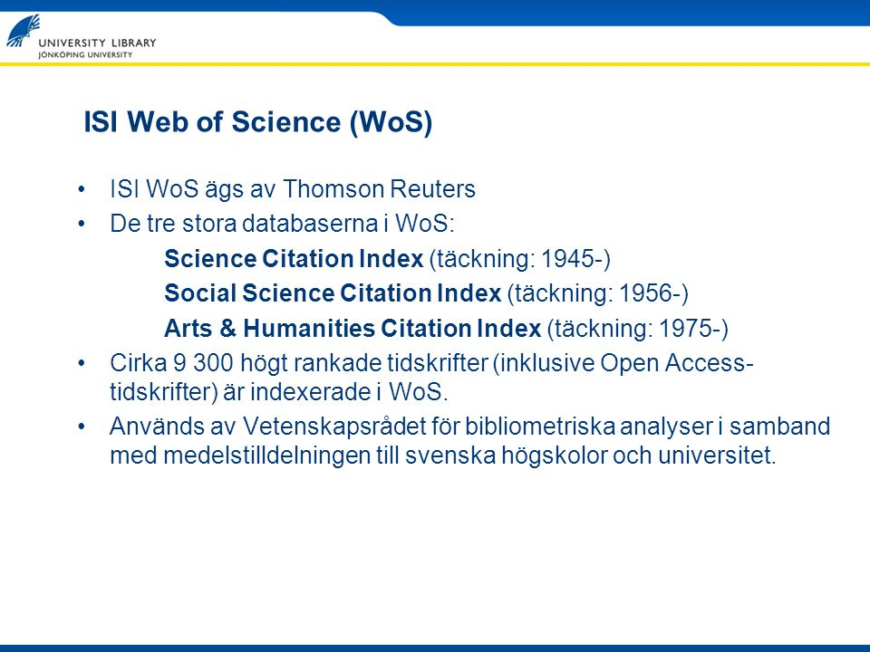 ISI Web of Science (WoS)