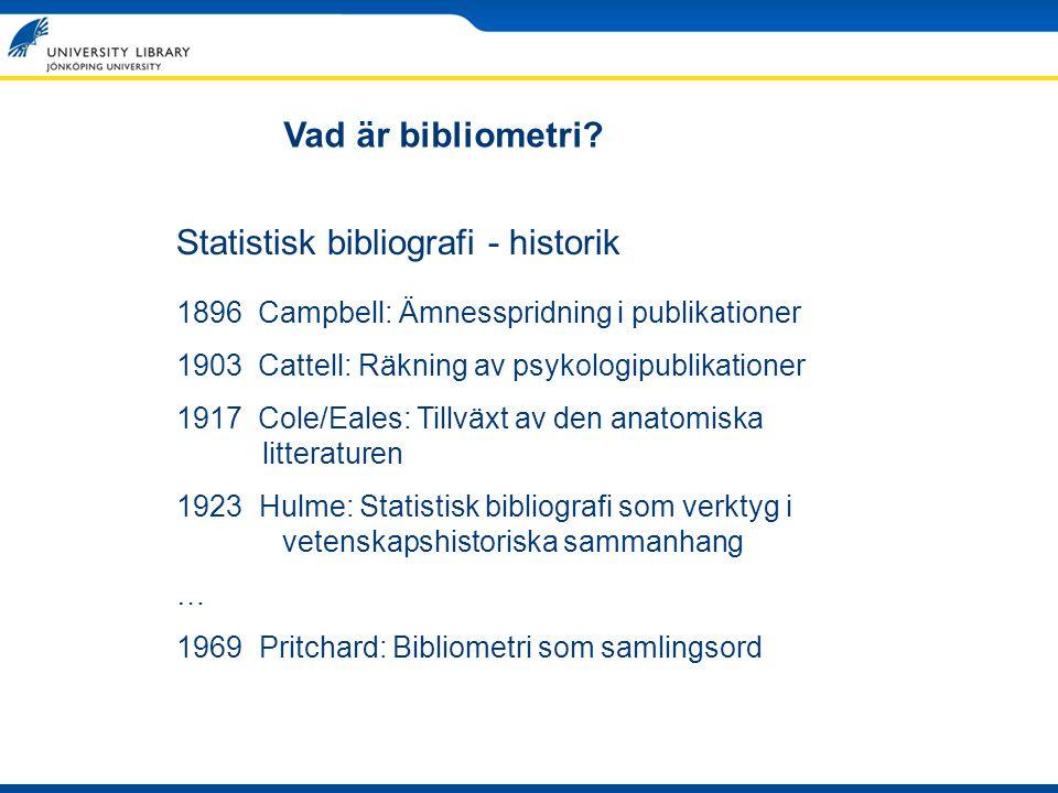 Statistisk bibliografi - historik