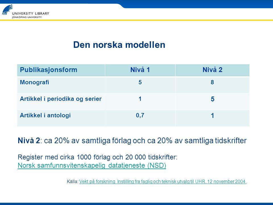 Den norska modellen Publikasjonsform. Nivå 1. Nivå 2. Monografi. 5. 8. Artikkel i periodika og serier.