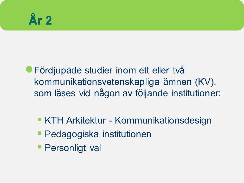 År 2 Fördjupade studier inom ett eller två kommunikationsvetenskapliga ämnen (KV), som läses vid någon av följande institutioner: