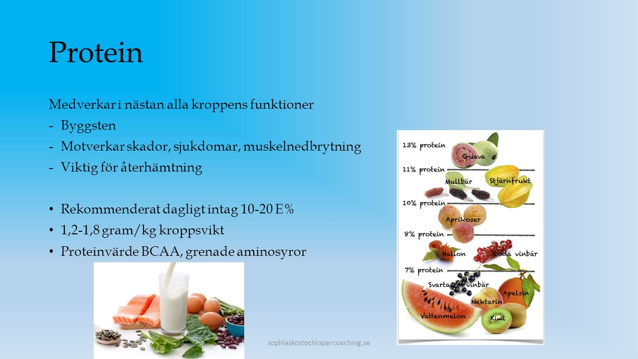 Protein Medverkar i nästan alla kroppens funktioner Byggsten