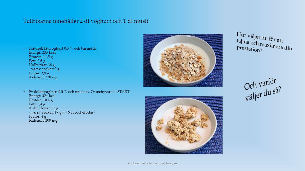 Tallrikarna innehåller 2 dl yoghurt och 1 dl müsli