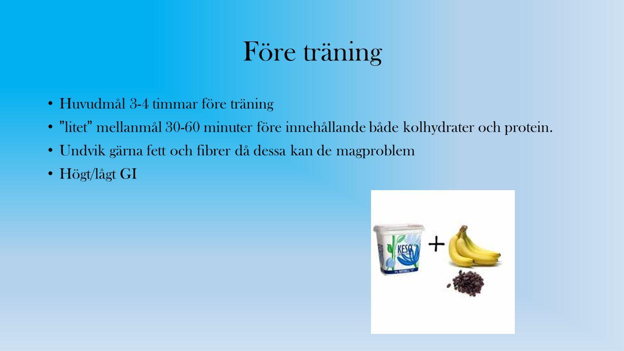 Före träning Huvudmål 3-4 timmar före träning