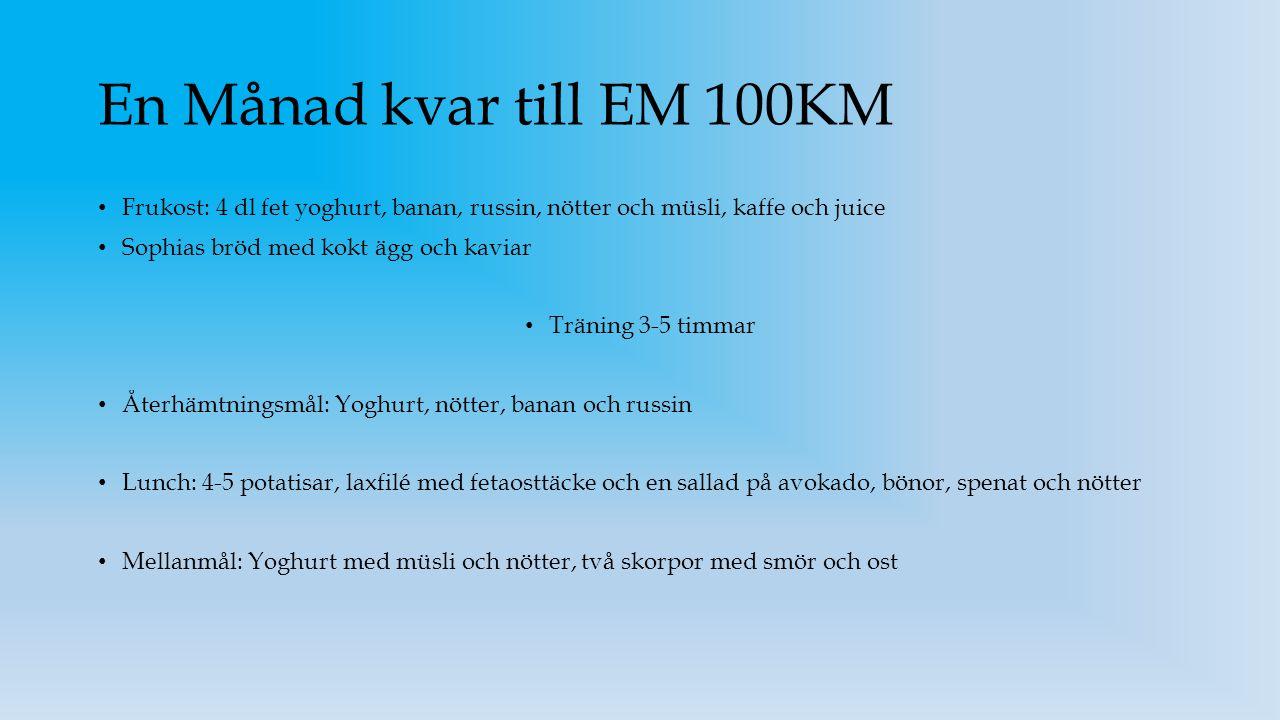 En Månad kvar till EM 100KM Frukost: 4 dl fet yoghurt, banan, russin, nötter och müsli, kaffe och juice.