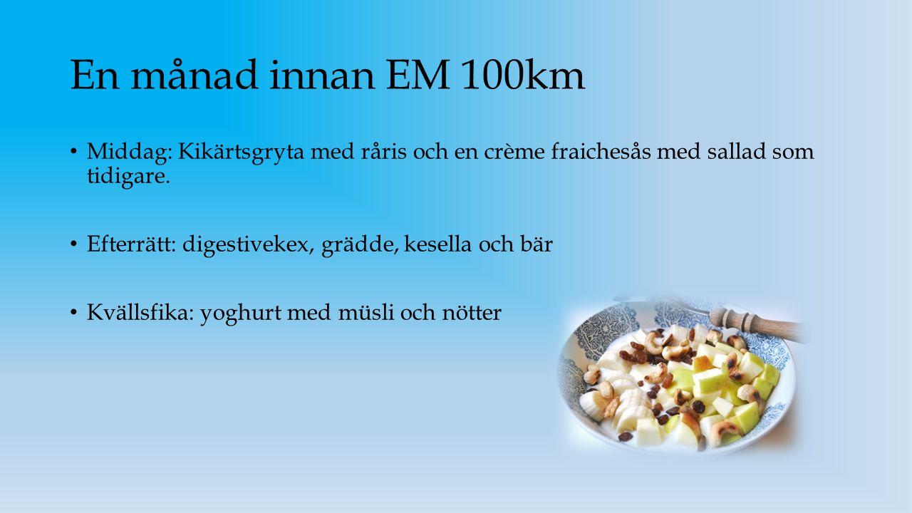 En månad innan EM 100km Middag: Kikärtsgryta med råris och en crème fraichesås med sallad som tidigare.