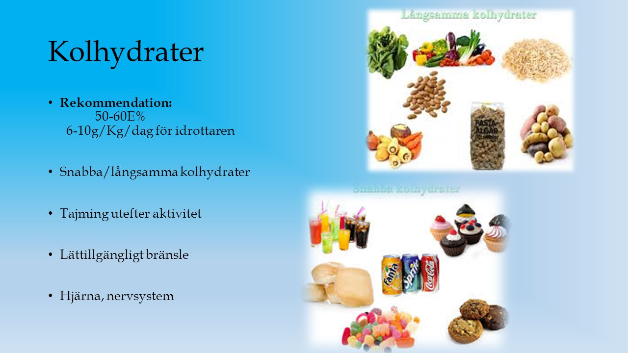 Kolhydrater Rekommendation: 50-60E% 6-10g/Kg/dag för idrottaren