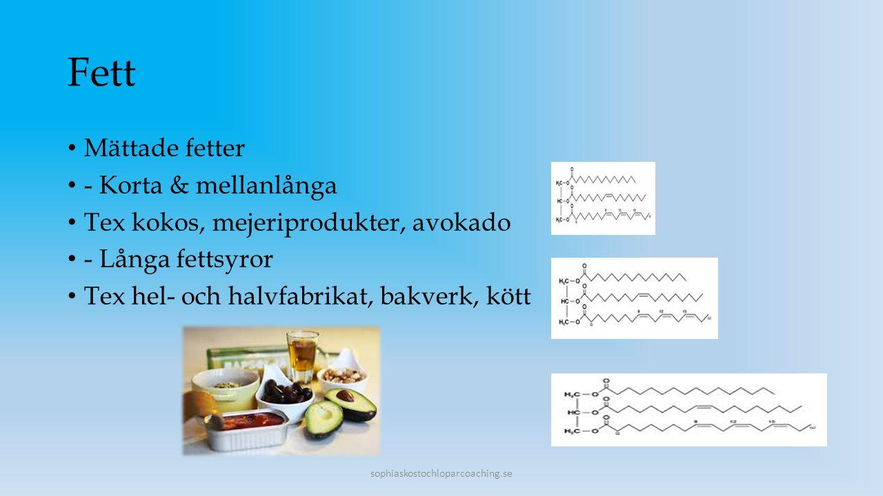 Fett Mättade fetter - Korta & mellanlånga