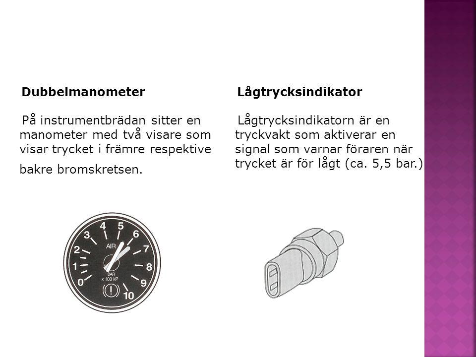 Dubbelmanometer På instrumentbrädan sitter en manometer med två visare som visar trycket i främre respektive bakre bromskretsen.