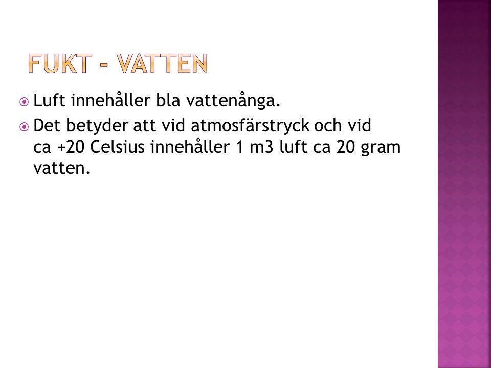 Fukt - vatten Luft innehåller bla vattenånga.