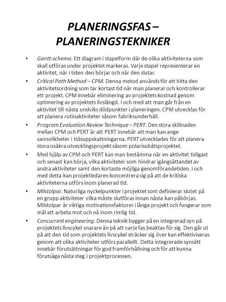 PLANERINGSFAS – PLANERINGSTEKNIKER