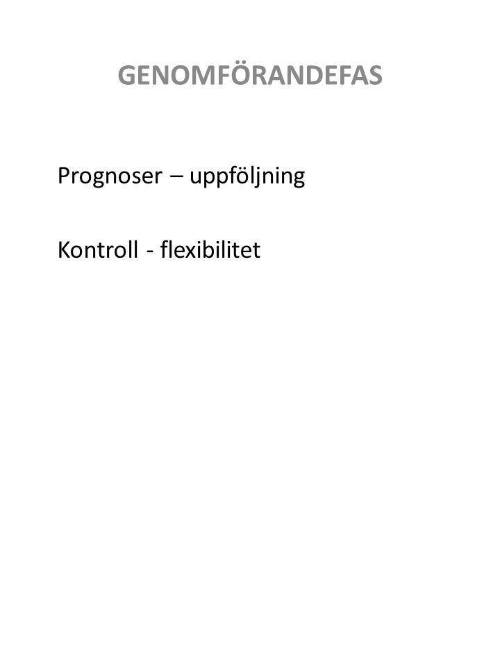 Prognoser – uppföljning Kontroll - flexibilitet