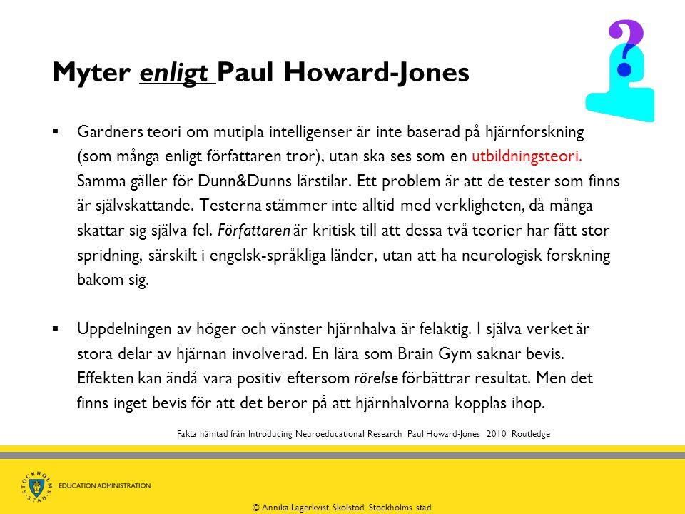 Myter enligt Paul Howard-Jones