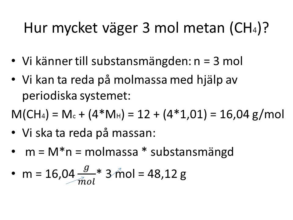 Hur mycket väger 3 mol metan (CH4)