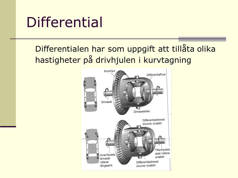 Differential Differentialen har som uppgift att tillåta olika hastigheter på drivhjulen i kurvtagning.