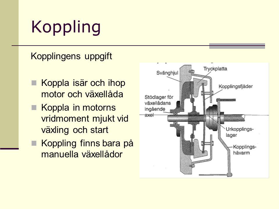 Koppling Kopplingens uppgift Koppla isär och ihop motor och växellåda