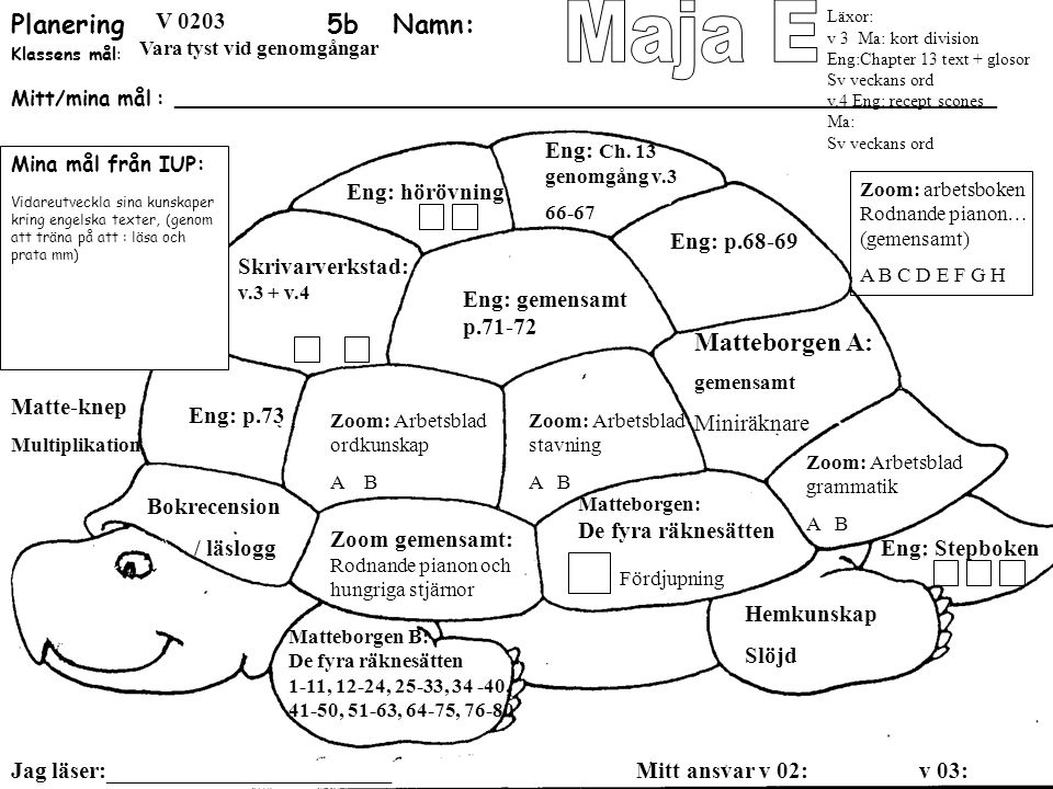 Maja E Planering 5b Namn: Matteborgen A: SO: landskapspärmen