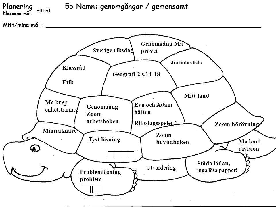 Planering 5b Namn: genomgångar / gemensamt