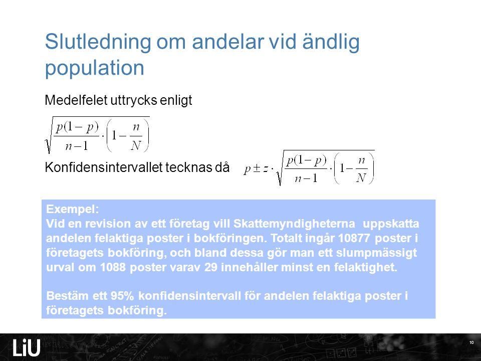 Slutledning om andelar vid ändlig population